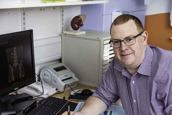 Mr Robb Consultant Paediatric Urologist in Birmingham in Clinic Room