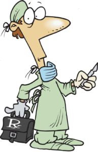 Cartoon of a surgeon who operates on Children