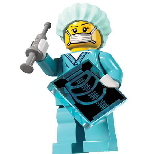 Lego Doctor holding a syringe and x-ray